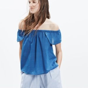 Madewell Indigo Off Shoulder Top